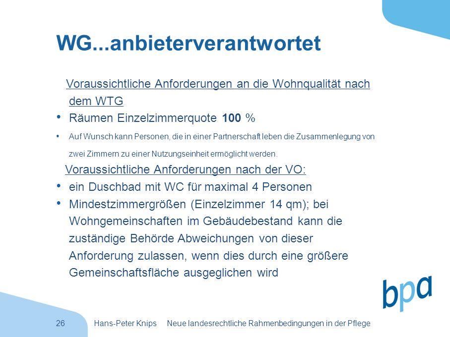 26Hans-Peter Knips Neue landesrechtliche Rahmenbedingungen in der Pflege WG...anbieterverantwortet Voraussichtliche Anforderungen an die Wohnqualität