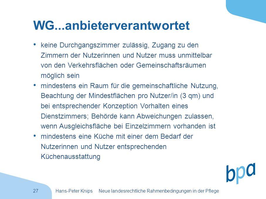 27Hans-Peter Knips Neue landesrechtliche Rahmenbedingungen in der Pflege WG...anbieterverantwortet keine Durchgangszimmer zulässig, Zugang zu den Zimm