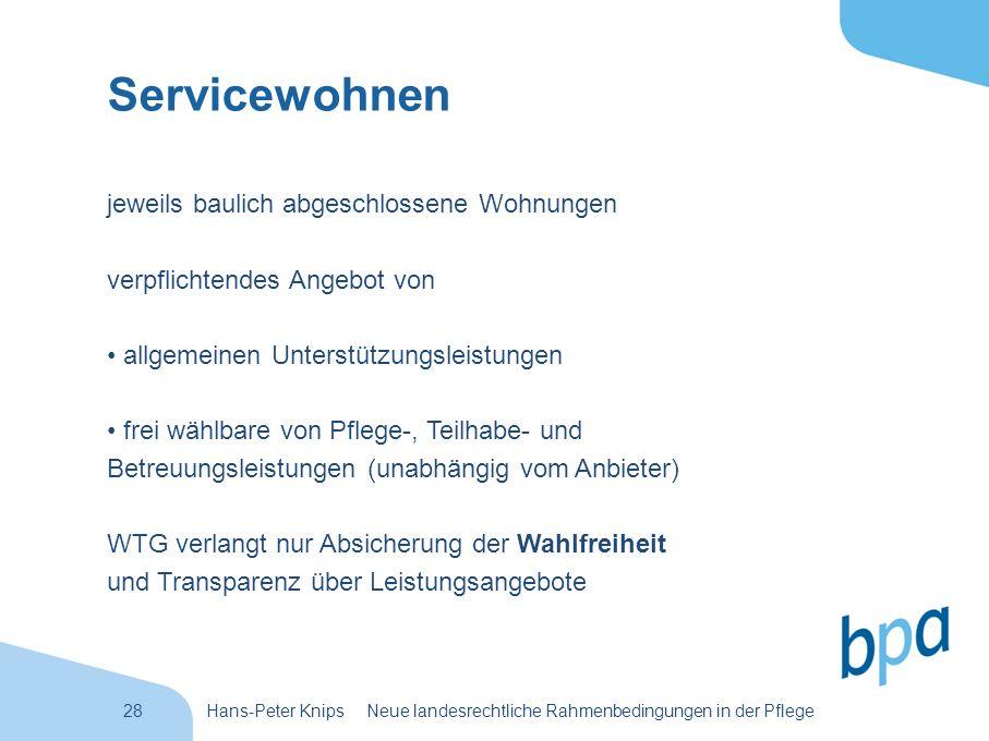 28Hans-Peter Knips Neue landesrechtliche Rahmenbedingungen in der Pflege Servicewohnen jeweils baulich abgeschlossene Wohnungen verpflichtendes Angebo