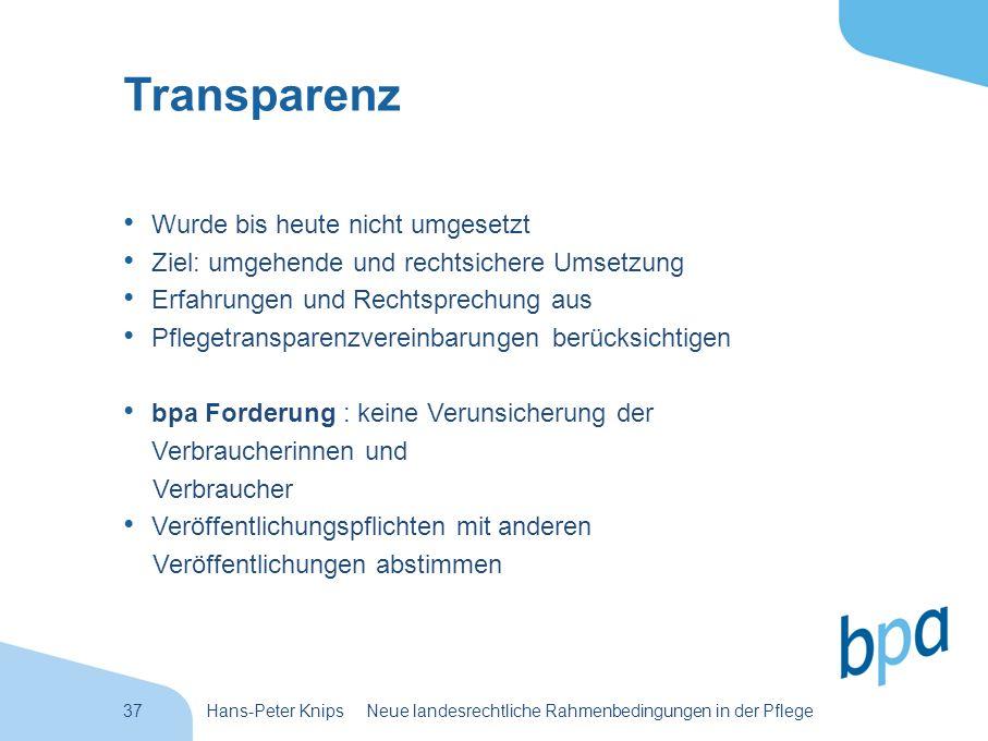 37Hans-Peter Knips Neue landesrechtliche Rahmenbedingungen in der Pflege Transparenz Wurde bis heute nicht umgesetzt Ziel: umgehende und rechtsichere