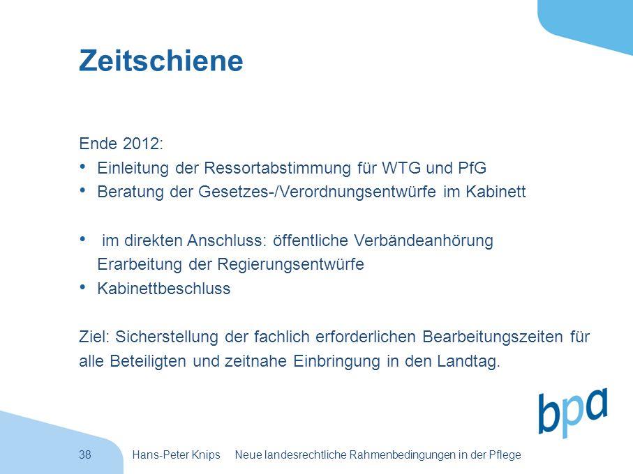 38Hans-Peter Knips Neue landesrechtliche Rahmenbedingungen in der Pflege Zeitschiene Ende 2012: Einleitung der Ressortabstimmung für WTG und PfG Berat