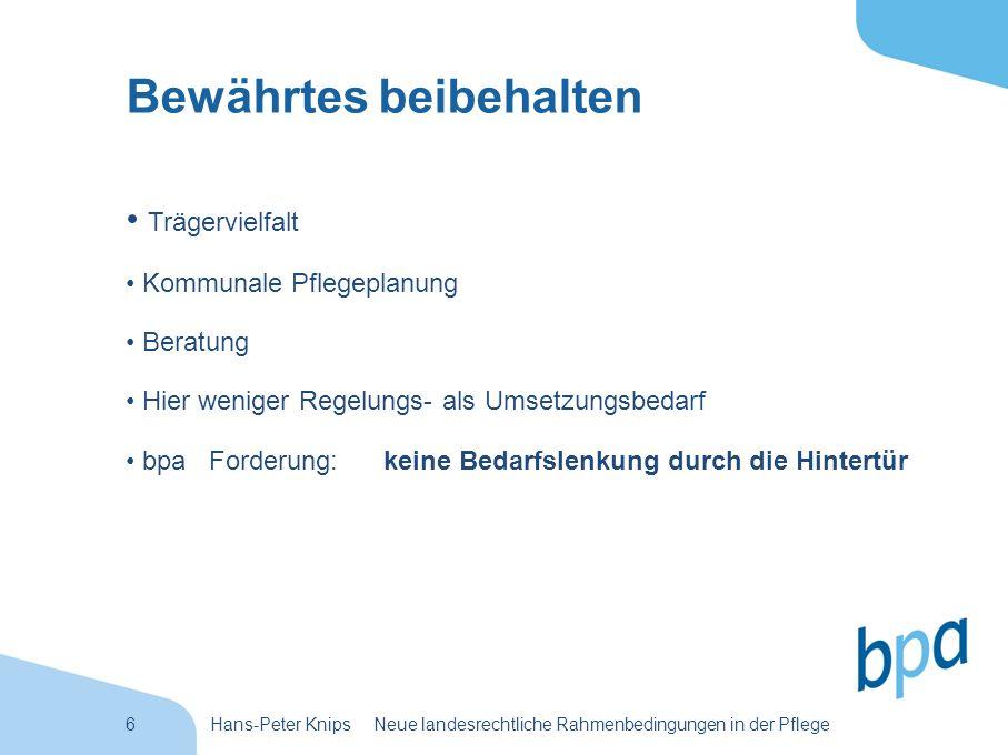6Hans-Peter Knips Neue landesrechtliche Rahmenbedingungen in der Pflege Bewährtes beibehalten Trägervielfalt Kommunale Pflegeplanung Beratung Hier wen
