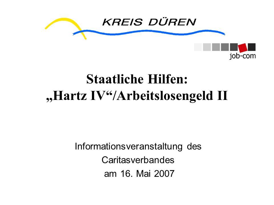 Staatliche Hilfen: Hartz IV/Arbeitslosengeld II Informationsveranstaltung des Caritasverbandes am 16. Mai 2007