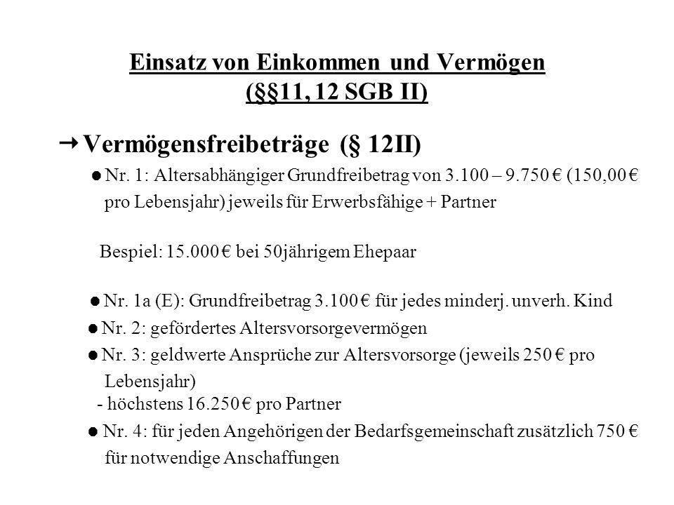 Einsatz von Einkommen und Vermögen (§§11, 12 SGB II) Vermögensfreibeträge (§ 12II) Nr. 1: Altersabhängiger Grundfreibetrag von 3.100 – 9.750 (150,00 p