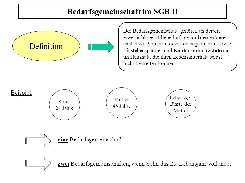 Bedarfsgemeinschaft im SGB II Definition Der Bedarfsgemeinschaft gehören an der/die erwerbsfähige Hilfebedürftige und dessen/deren eheliche/r Partner/