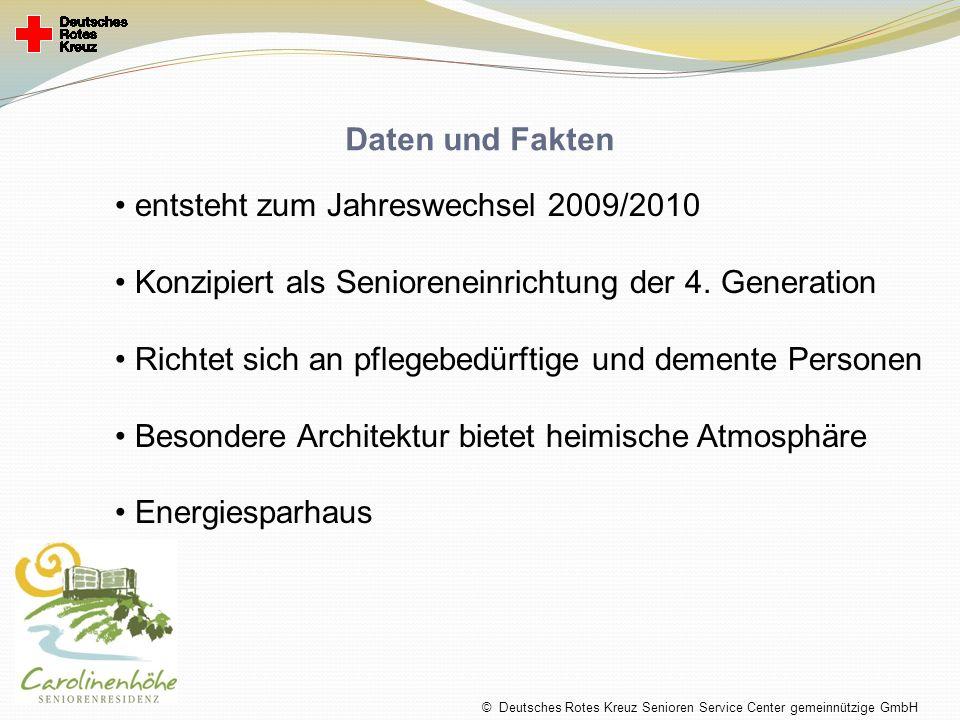 Daten und Fakten entsteht zum Jahreswechsel 2009/2010 Konzipiert als Senioreneinrichtung der 4. Generation Richtet sich an pflegebedürftige und dement