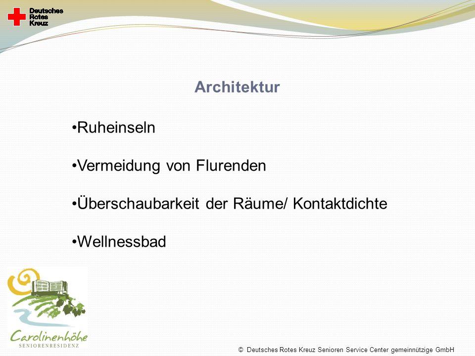 Architektur Ruheinseln Vermeidung von Flurenden Überschaubarkeit der Räume/ Kontaktdichte Wellnessbad © Deutsches Rotes Kreuz Senioren Service Center