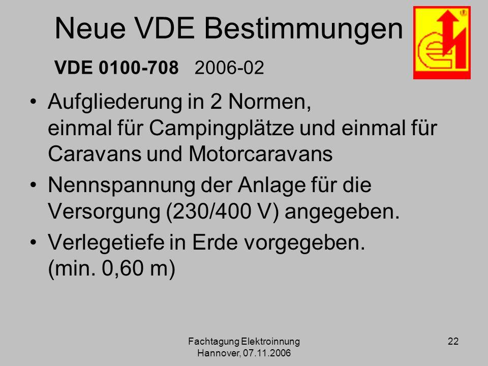 Fachtagung Elektroinnung Hannover, 07.11.2006 22 Neue VDE Bestimmungen VDE 0100-708 2006-02 Aufgliederung in 2 Normen, einmal für Campingplätze und ei