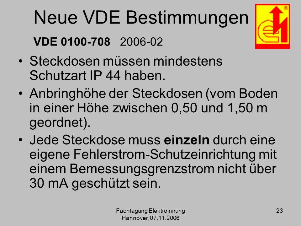 Fachtagung Elektroinnung Hannover, 07.11.2006 23 Neue VDE Bestimmungen VDE 0100-708 2006-02 Steckdosen müssen mindestens Schutzart IP 44 haben. Anbrin