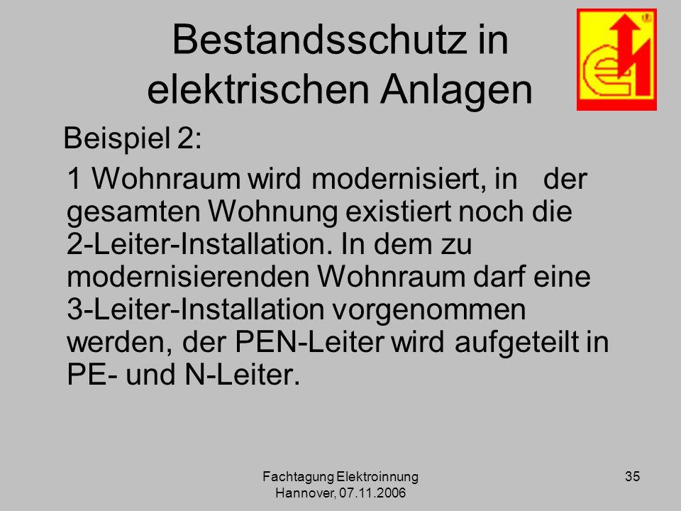 Fachtagung Elektroinnung Hannover, 07.11.2006 35 Bestandsschutz in elektrischen Anlagen Beispiel 2: 1 Wohnraum wird modernisiert, in der gesamten Wohn
