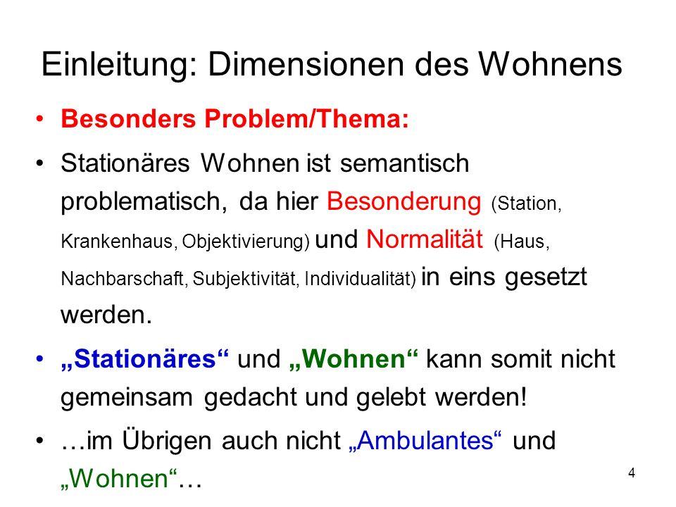 5 Einleitung: Dimensionen des Wohnens Um somit Wohnen zu definieren müssen die historischen Elemente (Rückblick) und die aktuellen Dimensionen (und evtl.