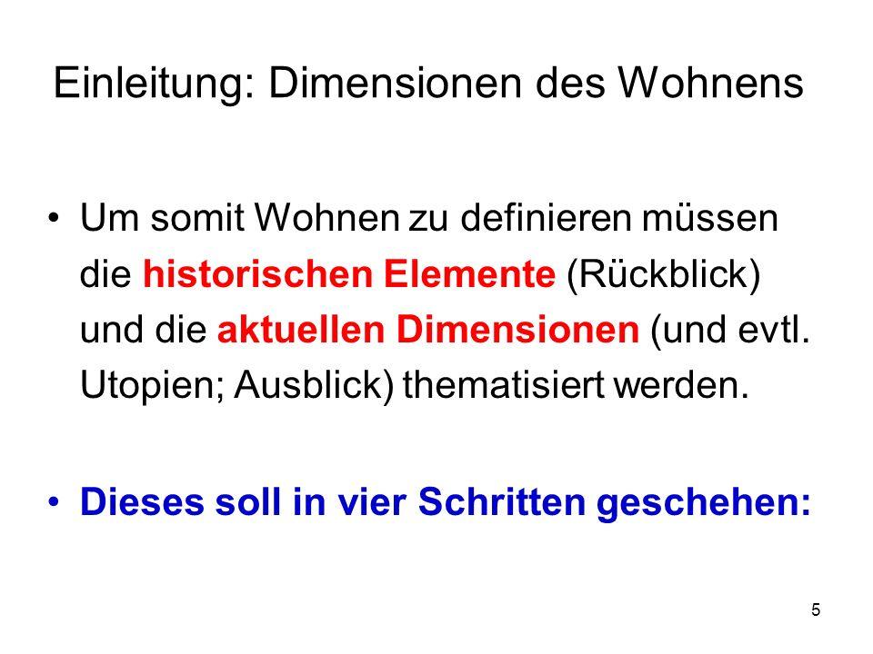 6 Einleitung: Dimensionen des Wohnens 1.Semiotische Dimension – Wohnen: Was ist das.