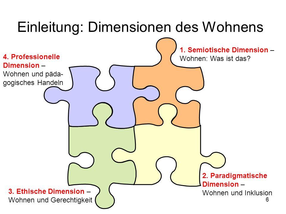17 Paradigmatische Dimension: Wohnen und Inklusion Definitionen somit: Inklusion als Innenseite der Unterscheidung meint die Teilnahme an der funktionssystemischen Kommunikation Exklusion als Außenseite der Unterscheidung bezeichnet die personelle Nichtteilnahme an dieser Kommunikation