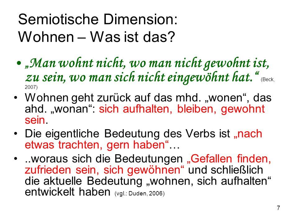 8 Semiotische Dimension: Wohnen – Was ist das.