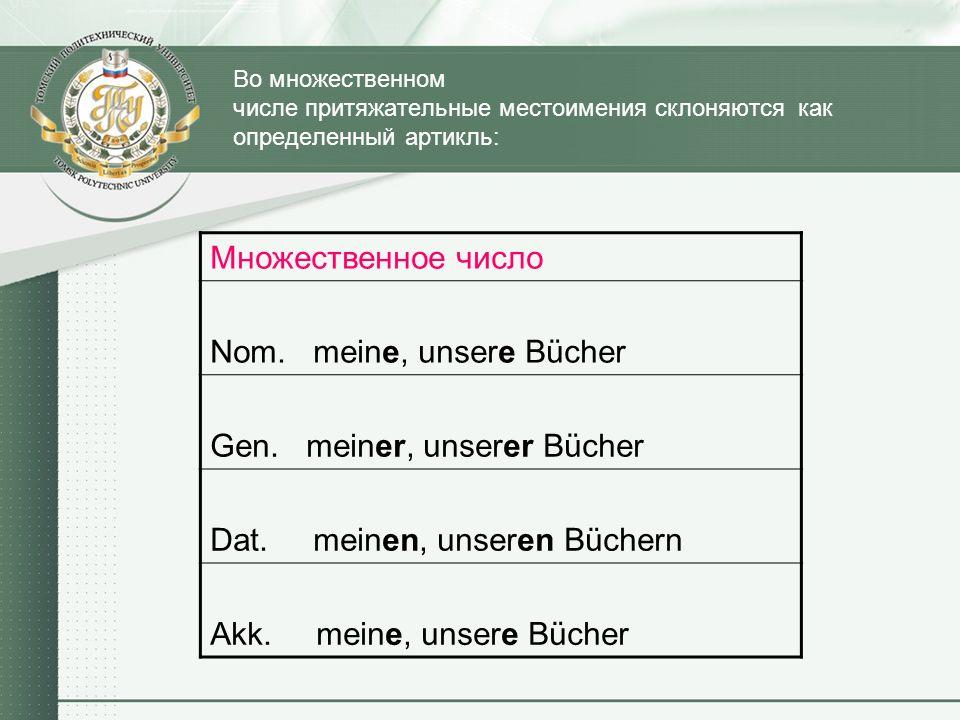 Во множественном числе притяжательные местоимения склоняются как определенный артикль: Множественное число Nom. meine, unsere Bücher Gen. meiner, unse
