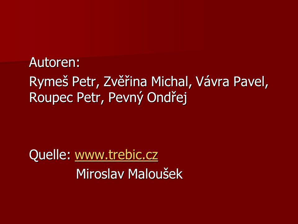 Autoren: Rymeš Petr, Zvěřina Michal, Vávra Pavel, Roupec Petr, Pevný Ondřej Quelle: www.trebic.cz www.trebic.cz Miroslav Maloušek Miroslav Maloušek