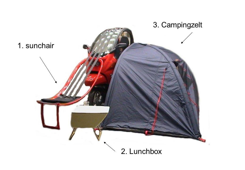 1. sunchair 2. Lunchbox 3. Campingzelt