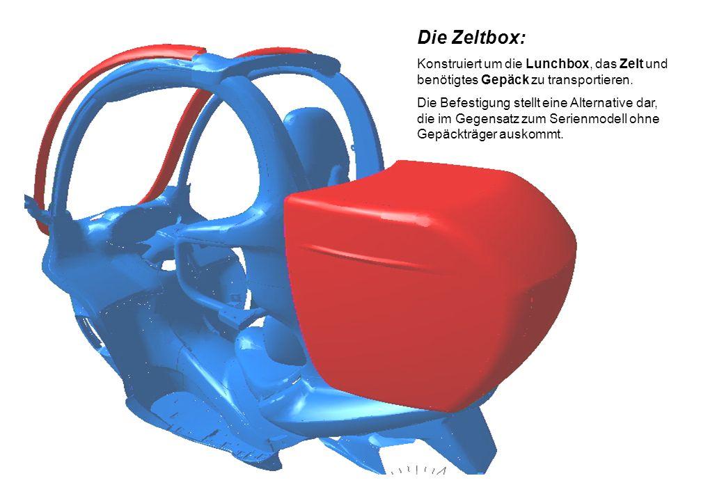 Die Zeltbox: Konstruiert um die Lunchbox, das Zelt und benötigtes Gepäck zu transportieren.