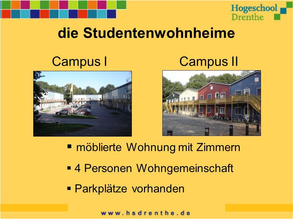 die Studentenwohnheime Campus ICampus II möblierte Wohnung mit Zimmern 4 Personen Wohngemeinschaft Parkplätze vorhanden