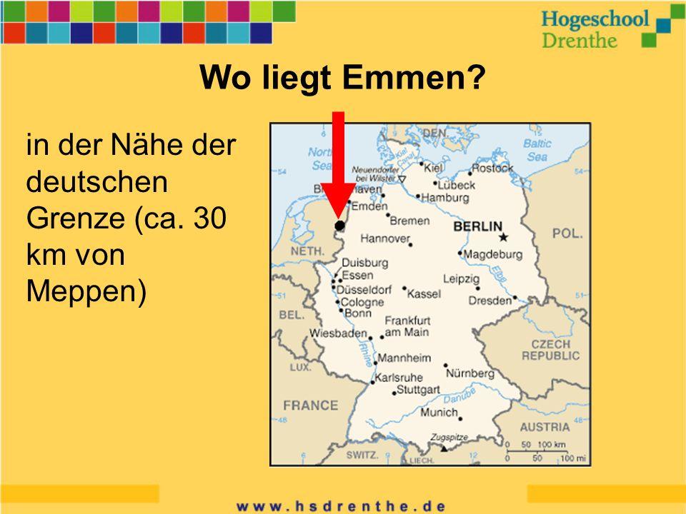 Wo liegt Emmen? in der Nähe der deutschen Grenze (ca. 30 km von Meppen)
