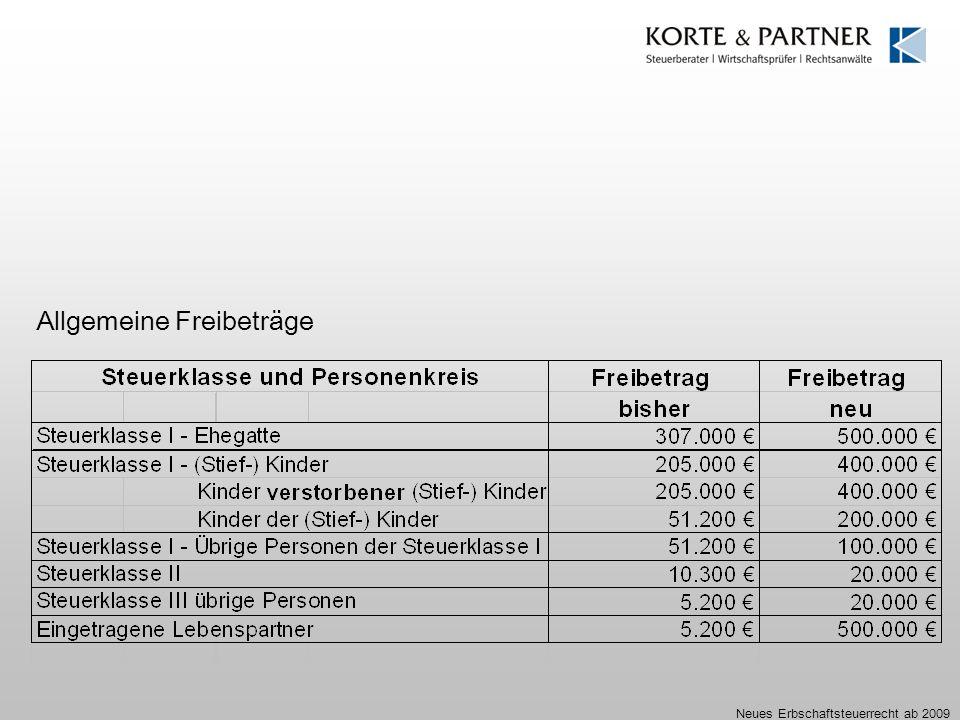 Neues Erbschaftsteuerrecht ab 2009 Allgemeine Freibeträge