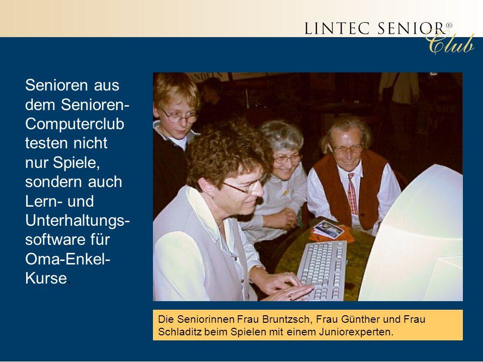 Senioren aus dem Senioren- Computerclub testen nicht nur Spiele, sondern auch Lern- und Unterhaltungs- software für Oma-Enkel- Kurse.