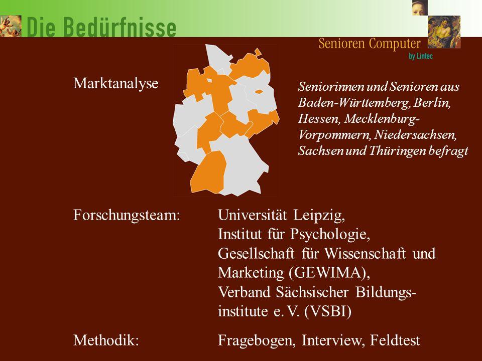 Forschungsteam:Universität Leipzig, Institut für Psychologie, Gesellschaft für Wissenschaft und Marketing (GEWIMA), Verband Sächsischer Bildungs- institute e.