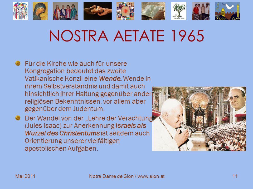 Mai 2011Notre Dame de Sion / www.sion.at11 NOSTRA AETATE 1965 Für die Kirche wie auch für unsere Kongregation bedeutet das zweite Vatikanische Konzil