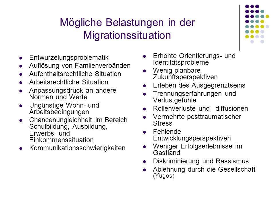 Mögliche Belastungen in der Migrationssituation Entwurzelungsproblematik Auflösung von Famlienverbänden Aufenthaltsrechtliche Situation Arbeitsrechtli
