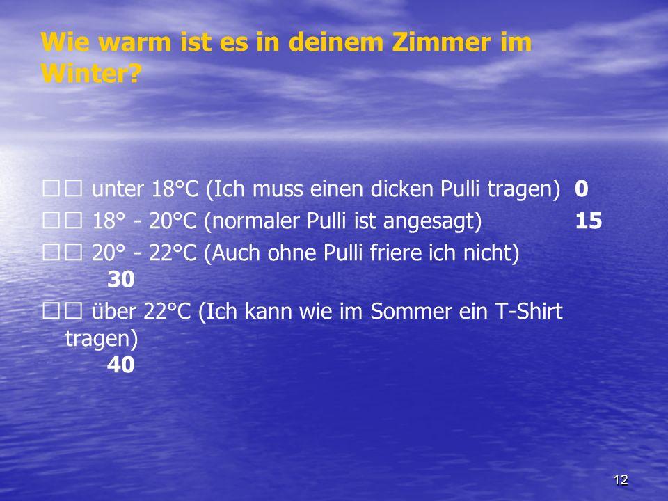 12 Wie warm ist es in deinem Zimmer im Winter? unter 18°C (Ich muss einen dicken Pulli tragen) 0 18° - 20°C (normaler Pulli ist angesagt) 15 20° - 22°