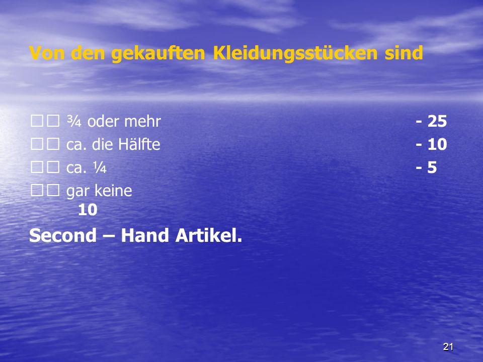 21 Von den gekauften Kleidungsstücken sind ¾ oder mehr - 25 ca. die Hälfte - 10 ca. ¼ - 5 gar keine 10 Second – Hand Artikel.