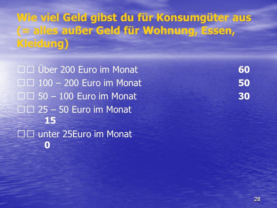 28 Wie viel Geld gibst du für Konsumgüter aus (= alles außer Geld für Wohnung, Essen, Kleidung) Über 200 Euro im Monat 60 100 – 200 Euro im Monat 50 5
