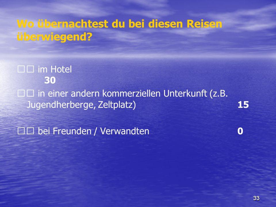 33 Wo übernachtest du bei diesen Reisen überwiegend? im Hotel 30 in einer andern kommerziellen Unterkunft (z.B. Jugendherberge, Zeltplatz)15 bei Freun