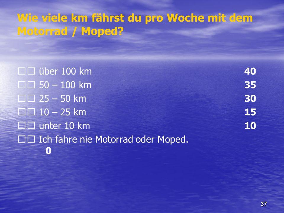 37 Wie viele km fährst du pro Woche mit dem Motorrad / Moped? über 100 km 40 50 – 100 km 35 25 – 50 km 30 10 – 25 km 15 unter 10 km 10 Ich fahre nie M