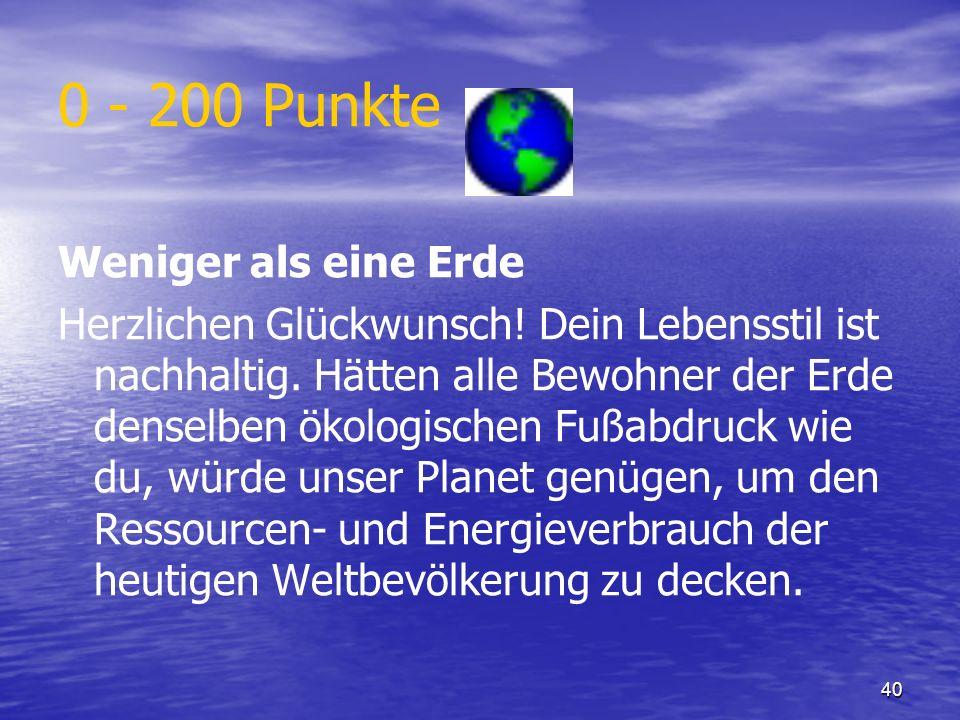 40 0 - 200 Punkte Weniger als eine Erde Herzlichen Glückwunsch! Dein Lebensstil ist nachhaltig. Hätten alle Bewohner der Erde denselben ökologischen F