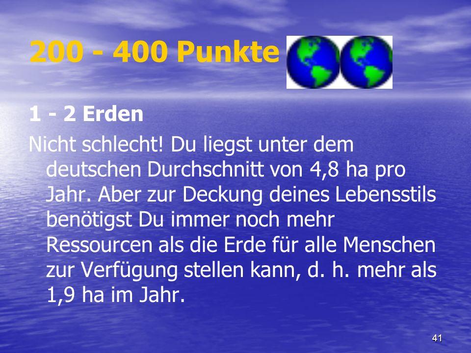 41 200 - 400 Punkte 1 - 2 Erden Nicht schlecht! Du liegst unter dem deutschen Durchschnitt von 4,8 ha pro Jahr. Aber zur Deckung deines Lebensstils be