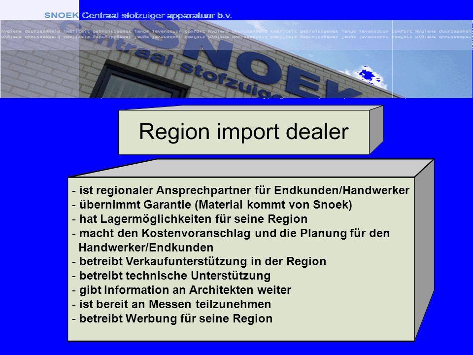 - ist regionaler Ansprechpartner für Endkunden/Handwerker - übernimmt Garantie (Material kommt von Snoek) - hat Lagermöglichkeiten für seine Region -