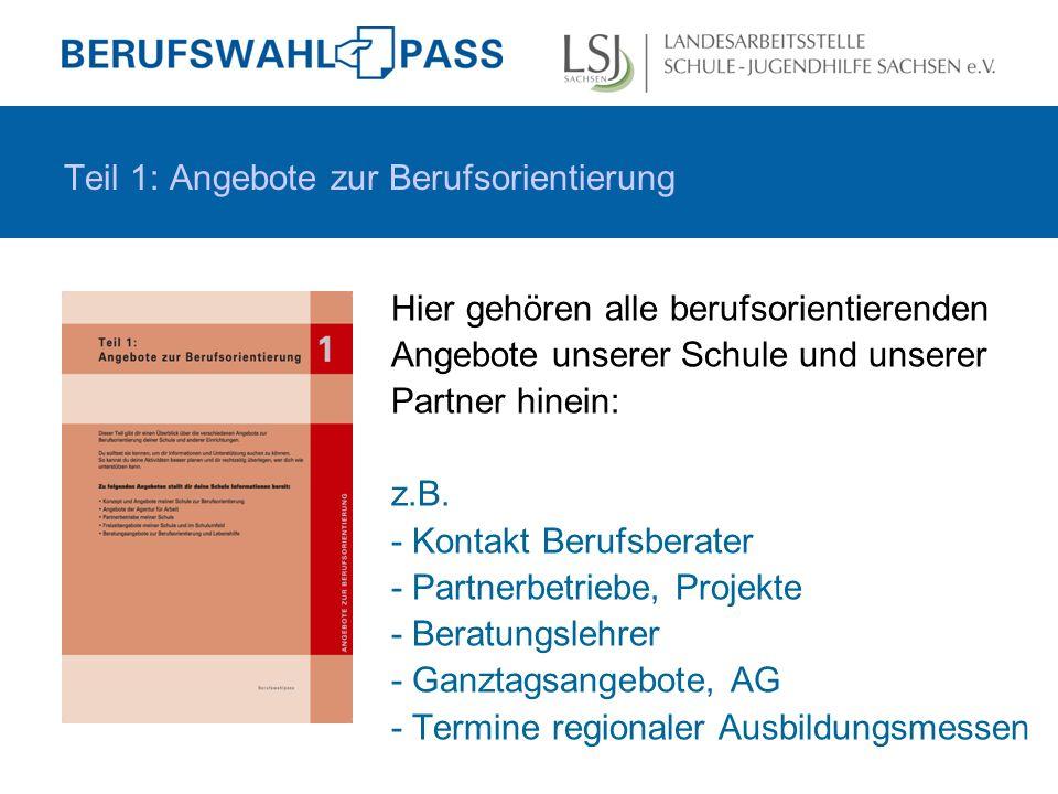 Teil 2: Mein Weg zur Berufswahl = das Kernstück des BWP Die Unterteilung (2.1.