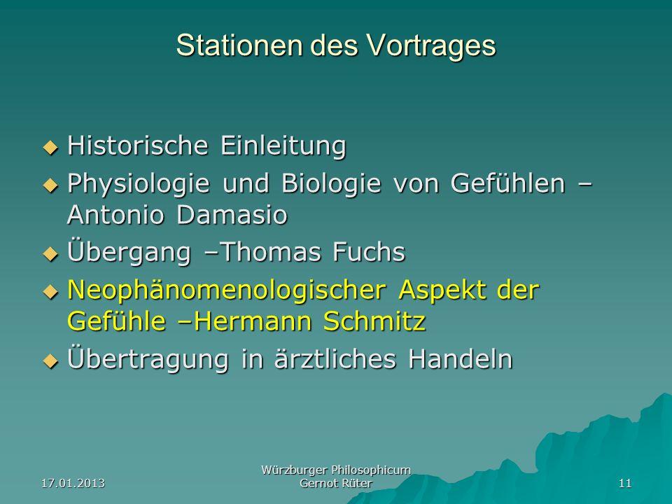 17.01.2013 Würzburger Philosophicum Gernot Rüter 11 Stationen des Vortrages Historische Einleitung Historische Einleitung Physiologie und Biologie von