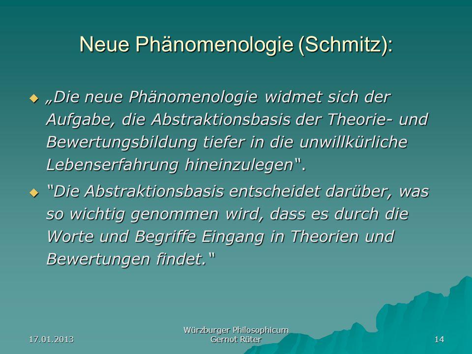 17.01.2013 Würzburger Philosophicum Gernot Rüter 14 Neue Phänomenologie (Schmitz): Die neue Phänomenologie widmet sich der Aufgabe, die Abstraktionsba