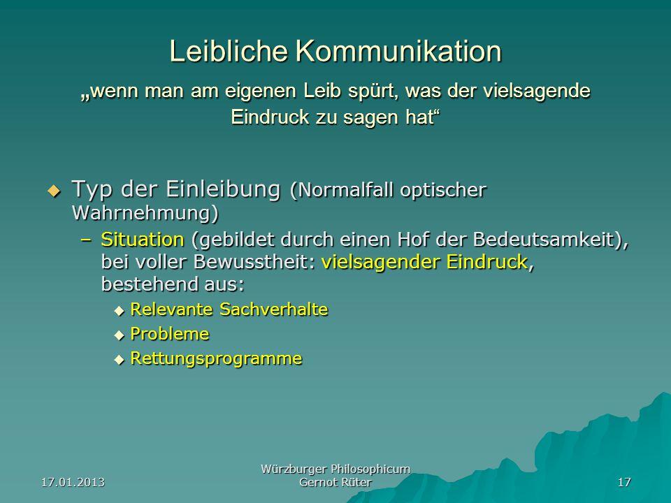 17.01.2013 Würzburger Philosophicum Gernot Rüter 17 Leibliche Kommunikation wenn man am eigenen Leib spürt, was der vielsagende Eindruck zu sagen hat
