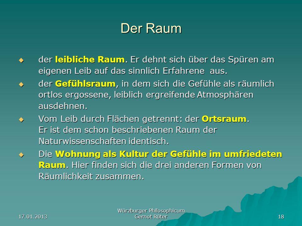 17.01.2013 Würzburger Philosophicum Gernot Rüter 18 Der Raum der leibliche Raum. Er dehnt sich über das Spüren am eigenen Leib auf das sinnlich Erfahr