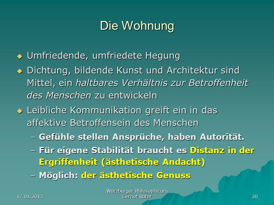 17.01.2013 Würzburger Philosophicum Gernot Rüter 20 Die Wohnung Umfriedende, umfriedete Hegung Umfriedende, umfriedete Hegung Dichtung, bildende Kunst