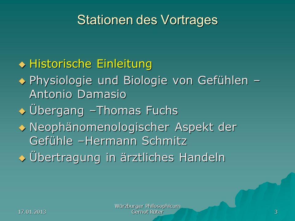17.01.2013 Würzburger Philosophicum Gernot Rüter 3 Stationen des Vortrages Historische Einleitung Historische Einleitung Physiologie und Biologie von
