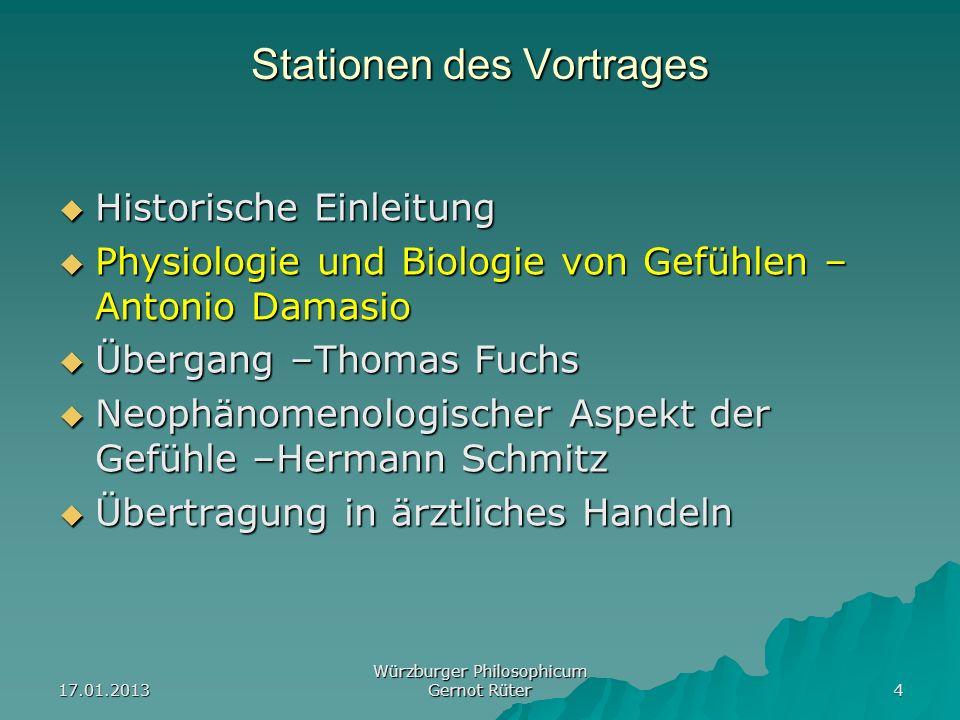 17.01.2013 Würzburger Philosophicum Gernot Rüter 4 Stationen des Vortrages Historische Einleitung Historische Einleitung Physiologie und Biologie von