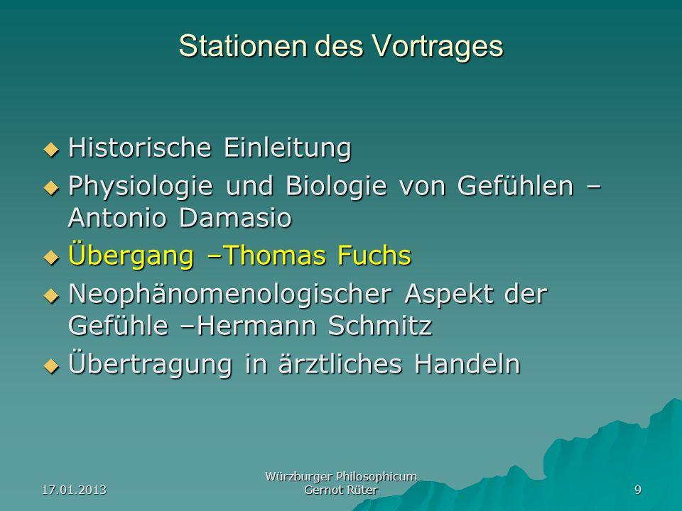 17.01.2013 Würzburger Philosophicum Gernot Rüter 9 Stationen des Vortrages Historische Einleitung Historische Einleitung Physiologie und Biologie von