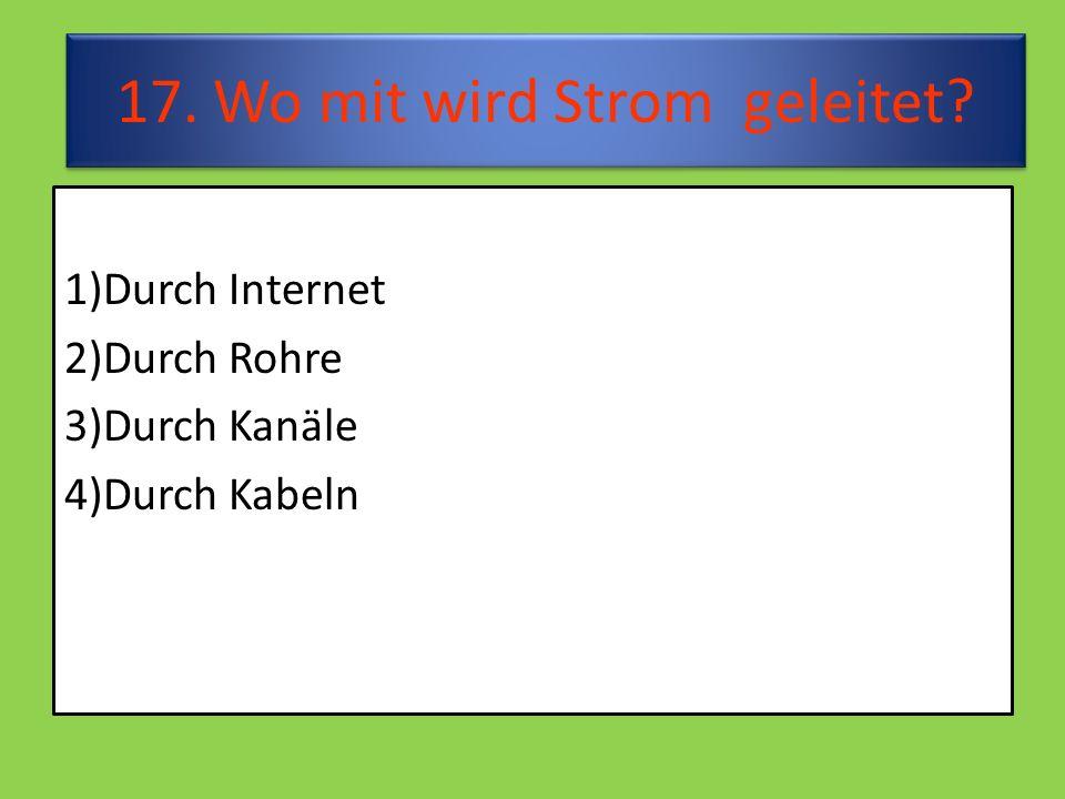 17. Wo mit wird Strom geleitet 1)Durch Internet 2)Durch Rohre 3)Durch Kanäle 4)Durch Kabeln