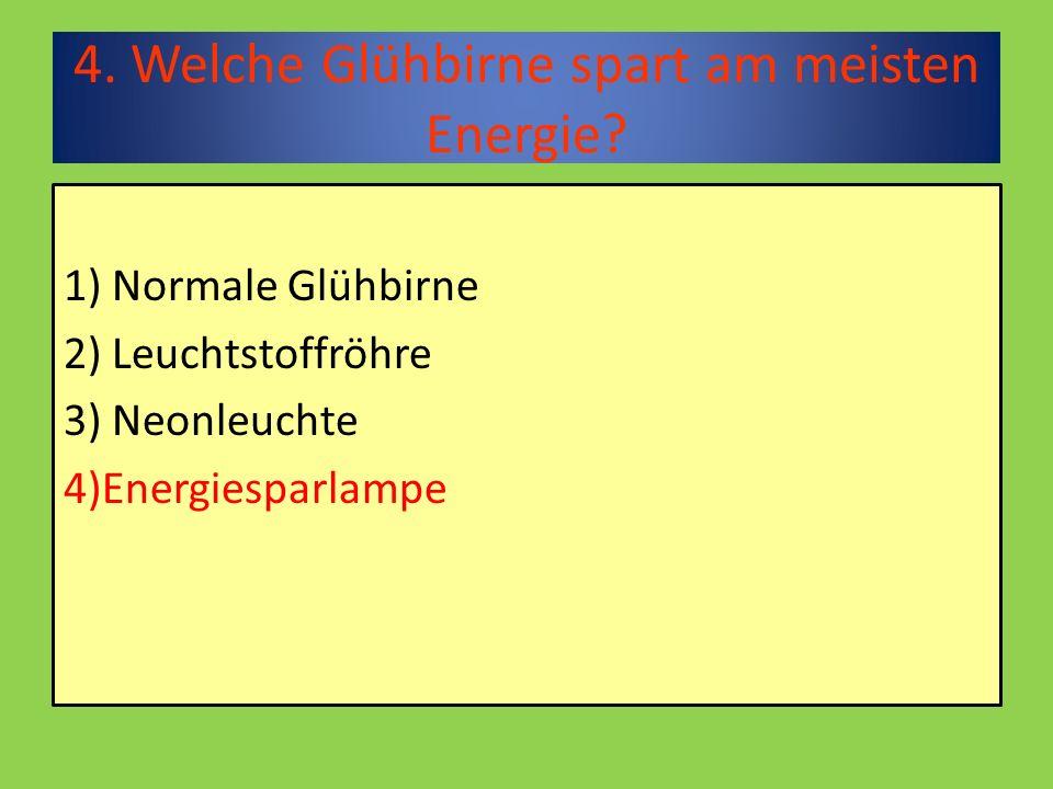 4. Welche Glühbirne spart am meisten Energie.