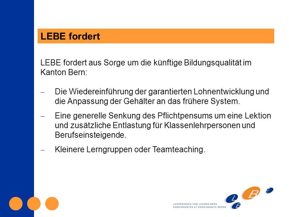 LEBE fordert LEBE fordert aus Sorge um die künftige Bildungsqualität im Kanton Bern: Die Wiedereinführung der garantierten Lohnentwicklung und die Anpassung der Gehälter an das frühere System.