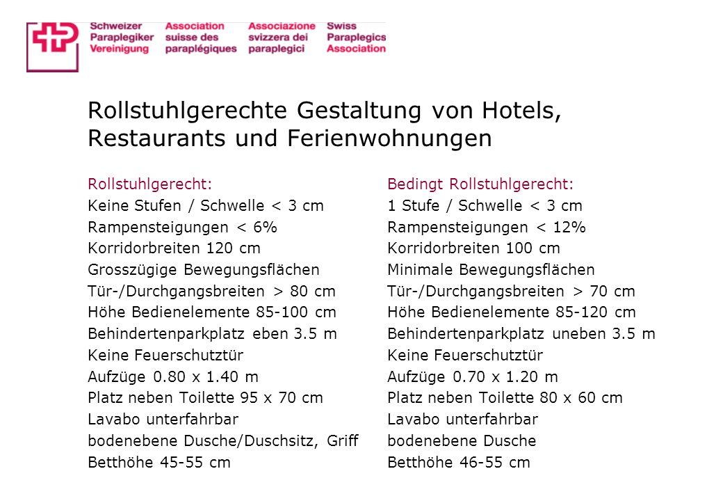 Rollstuhlgerechte Gestaltung von Hotels, Restaurants und Ferienwohnungen Rollstuhlgerecht: Keine Stufen / Schwelle < 3 cm Rampensteigungen < 6% Korrid